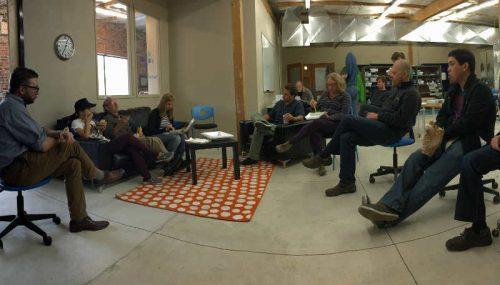 A collection of C. elegans researchers collaborating during the November 2015 Customer Workshop in Eugene, Oregon.